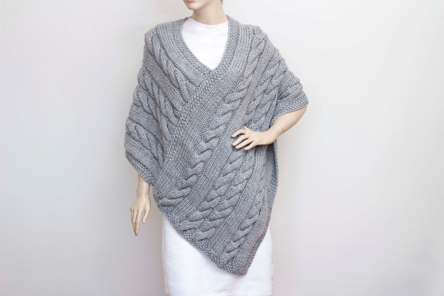 Knitted poncho cabled poncho cable pattern Plus size