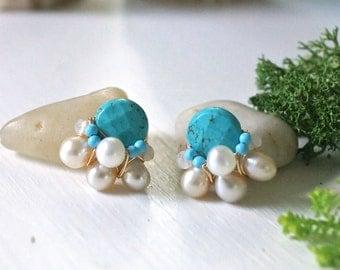 Gemstone stud earrings - cluster earrings - wire wrapped earrings