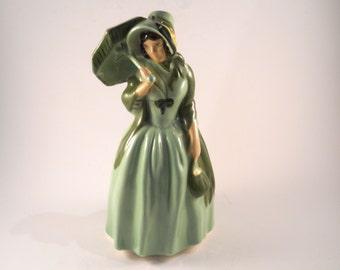 Ceramic Lady Green Purse Umbrella Vintage
