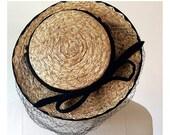 20% OFF - 1950s Straw Topper Hat --> 1950s Hat --> 50s Hat --> 1950s Summer Hat --> 1950s Straw Hat --> Vintage Millinery --> Vintage Hat --
