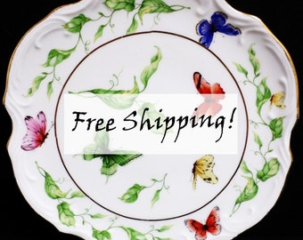 I.Godinger & Co. Plate Butterfly Garden Fine Porcelain Wall Plate Free Shipping!