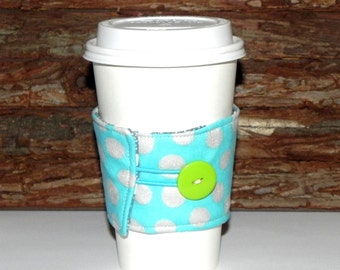 Fabric Coffee Cozy Sleeve - Reusable insulated Tea Cozy-Hot or Cold drink - Polka dots in turquoise blue, silver and grey