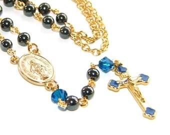 Rosary Necklace, Petite Hematite & Gold, Catholic Jewelry