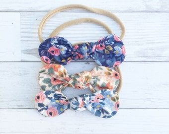 Rifle Paper Co Fabric {LUCY} Knotted Headband - Nylon Headband - One Size Fits All - Rosa Collection