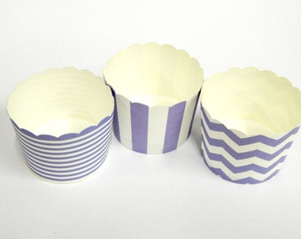 Cupcake Baking Cups, 20 Lilac Baking Cups, Candy / Nut Cup, Baking Cups, Ring Stripe, Vertical Stripe, Chevron, Muffin Liners, Cupcake