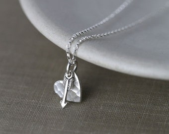SALE 40% OFF - Tiny Cupid's Arrow Love Heart Necklace - Girlfriend Gift - Wife Gift - Women's Jewelry Gift for Her - Romantic Gift