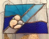 One of A Kind  Nautical Sea Shells w/Jade Stained Glass Window Panel/ Sun Catcher