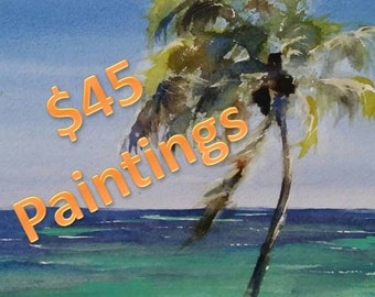 "palm trees, caribbean ocean, island, seascape, shore, tropical art, Carribean Breezes. original watercolor painting (12"" x 9"")"