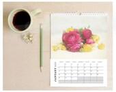 2017 Flower Calendar, floral wall calendar, 2017 wall calendar, home decor, photography calendar, art calendar, fine art photography