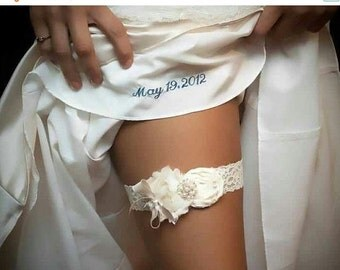 SUMMER SALE Wedding Garter Set, Vintage Bridal Garter, Lace Garter, with Toss Garter Ivory with Rhinestones and Pearls  Custom colors