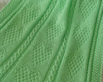 Baby Blanket #12*, Baby Crib Blanket, Sprite Green Baby Afghan, Hand Knit Baby Crib Blanket, Handmade Baby Blanket, Hand Knit Baby Blanket
