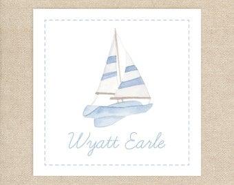 25 Watercolor Sailboat Enclosure Cards