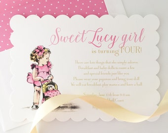 Vintage Baby Doll Party Invitation