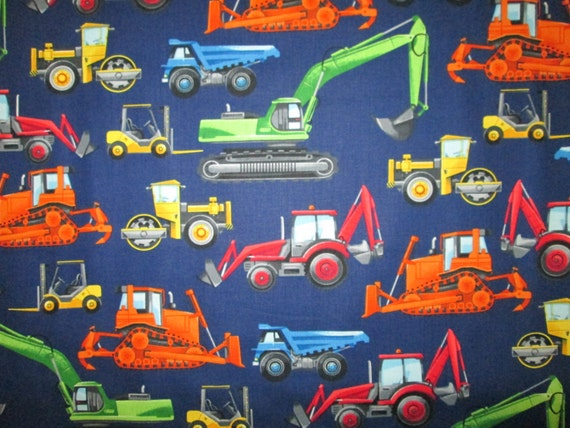 Construction diggers trucks machines blue cotton fabric for Little blue truck fabric