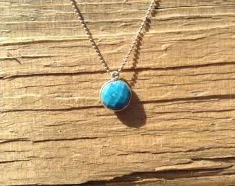 Simple  sterling silver chain with faceted turquoise drop necklace. Crazy cute! Great for layering!