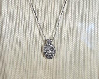 Handmade Fine Silver PMC Flower Pendant set with Diamond CZs