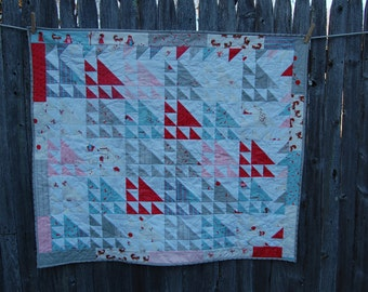 Modern baby quilt, reduced price