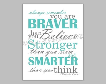 Christopher Robin Always Remember You are Braver Than You Believe Gender Neutral Aqua Gray Canvas Wall Art Print