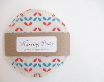 Cloth Nursing Pads--Modern Print in Aqua, Red & Cream on Gray--Single Pair--Ready to Ship