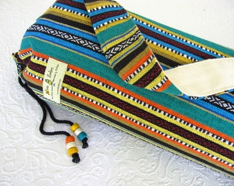 Yoga Mat Bag - Mexican Woven Fabric - TEAL - Unisex simple design. Pure Cotton, beaded draw string, roomy.
