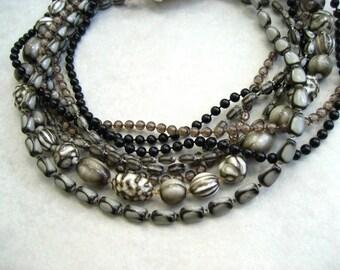 Vintage Signed Selini Bib Necklace Multi Strand Beaded Black White Choker