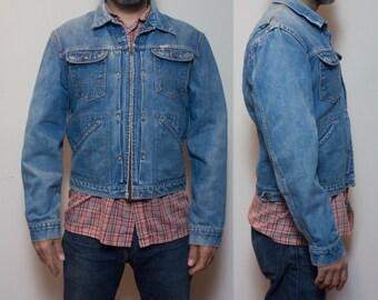 MED (40)   Vintage Wrangler Pleated Denim Zipper Jacket 1960's