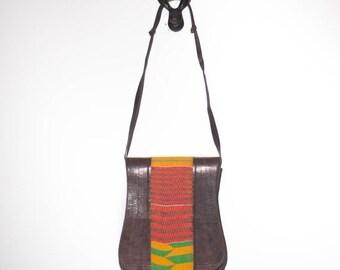 40% off Sale Brown Leather Purse Colorful Woven Cotton Handbag