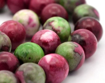 Jade Beads Round Mulberry, Green and Pink 10MM