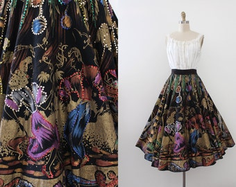 vintage 1950s Mexican dancers skirt // 50s hand painted novelty Mexican dancing skirt