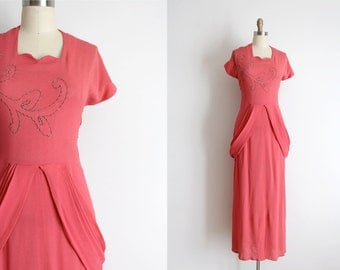 vintage 1940s gown // 40s coral pink crepe evening gown