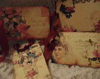 Shabby Chic Post Cards Gift  Tags  With Seam Binding Tie French Back Ground Writing