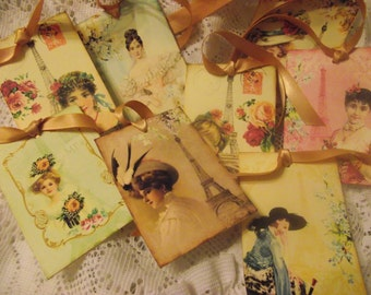 Paris Gift  Tags  Shabby  Chick Style  Eiffel Tower Background Vintage Ladies Pastel Color Background