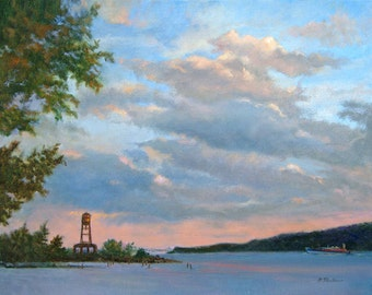 Hudson River Landscape, Hudson River Art, Hudson River Oil, Landscape Oil Print, Home Decor Wall Art by P. Tarlow