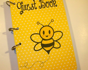 Baby Shower Guest Book, Bee Birthday, Party Sign in Book, Bee Baby Shower, Bumble Bee Party, Yellow Dots