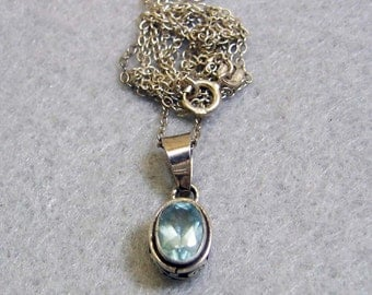 Real Blue Topaz Pendant Necklace, Sterling Silver Setting and Chain
