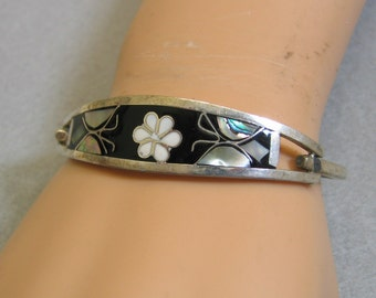 Alpaca Silver and Black Enamel Hinged Bangle Bracelet, Butterfly and Flower Design