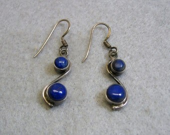Vintage Lapis Lazuli and Sterling Silver Pierced Earrings