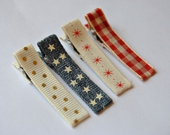 Baby Hair clips, Infant hair clips, Toddler hair clips, Set of 4 hair clips, Ivory-Denim Blue-Red Starburst-Red Plaid