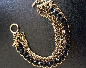 Vintage six layer chain and black bead bracelet