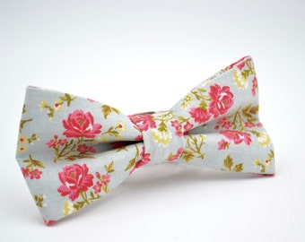 Adult Floral Bowtie, Light Blue and Pink Floral Bow Tie