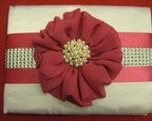 Guest book for weddings ,fushia ,white ,pearl brooch,satin ribbon