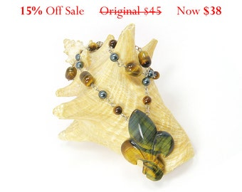 Tigereye and Green Glass Pearl Necklace with Fleur de Lis Pendant - ON SALE NOW 15% Off