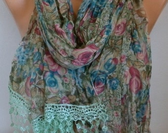 Desert Rose Scarf, Oversize Scarf, Fall Scarf Shawl Cowl Pareo  Multicolor Bridesmaid Gift,Gift Ideas For Her, Women Fashion Accessories