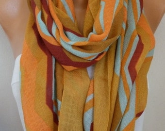 Mustard Cotton Infinity Scarf, Fall Scarf, Cowl Oversize Wrap Gift Ideas For Her, Women Fashion Accessories, Women Scarves