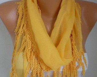 Summer Yellow Scarf Cotton Cowl Scarf  Bridesmaid Gift Gift Ideas For Her Women Fashion Accessories  best selling item scarf