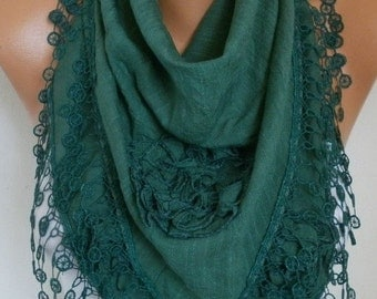 Emerald Green Cotton Floral Scarf Valentine Gift Cowl Lace Shawl Bridesmaid Gift Gift Ideas For Her Women Fashion Accessories