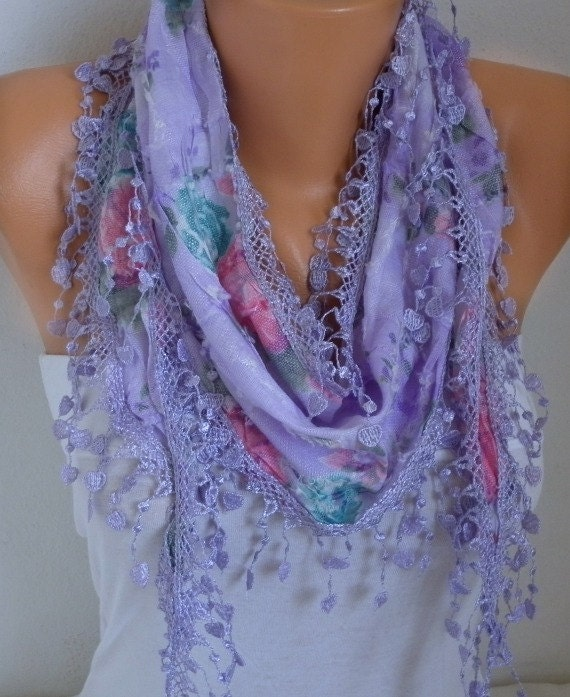 Lilac Floral Scarf Spring Summer Scarf Heart Scarf Shawl Scarf Cotton Scarf Cowl Scarf Gift For Her Fashion Accessories best selling item