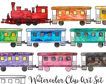 Create a Train Clipart Digital Instant Download, Commercial Use Watercolor Clip Art