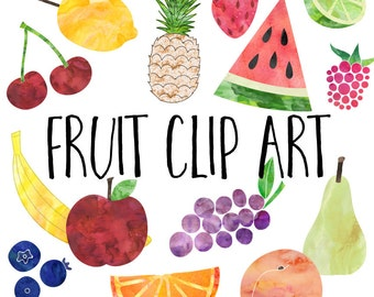 Watercolor Fruit Clip Art, Fruit Clipart, Instant Digital Download, Commercial Use Images