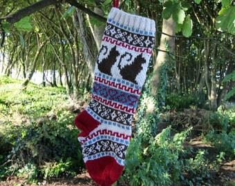 Cat knit Christmas Stocking Holiday Xmas Handknit Stocking Fair Isle (Ready to Ship) LBrR